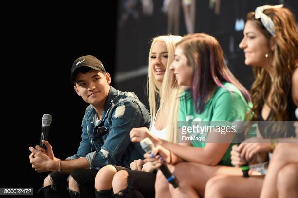 Alex Wassabi Tana Mongeau Gabby Hannah and Angela Russett appear at Escape the Night 2 panel and premiere at VidCon at Anaheim Convention Center on...