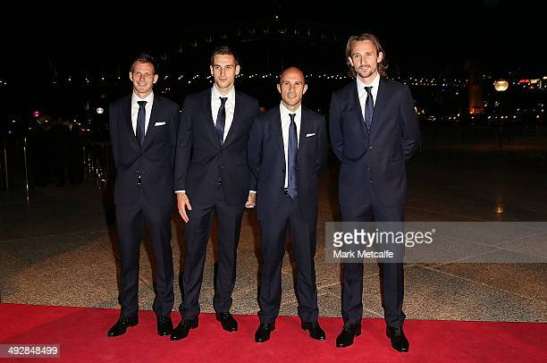 Alex Wilkinson Matthew Spiranovic Mark Bresciano and Josh Kennedy arrive at the Australian Socceroos Official Farewell Dinner at Sydney Opera House...