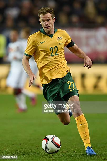 Alex Wilkinson of Australia controls the ball during the International Friendly match between Germany and Australia at FritzWalterStadion on March 25...