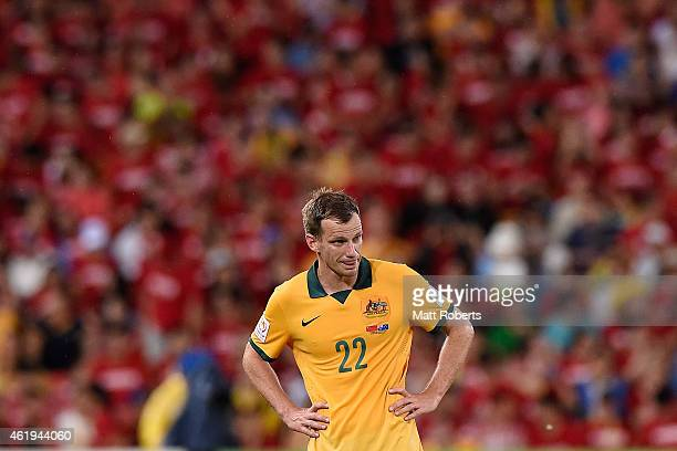 Alex Wilkinson of Australia looks on during the 2015 Asian Cup match between China PR and the Australian Socceroos at Suncorp Stadium on January 22...
