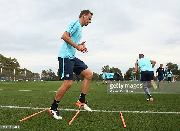 Alex Wilkinson of Melbourne City warms up during a Melbourne City ALeague training session at City Football Academy on April 21 2016 in Melbourne...