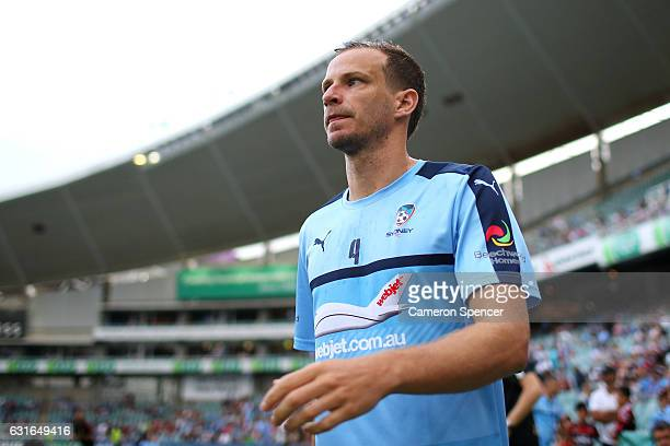 Alex Wilkinson of Sydney FC walks onto the field during the round 15 ALeague match between Sydney FC and the Western Sydney Wanderers at Allianz...