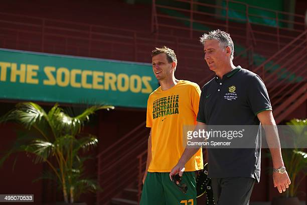 Alex Wilkinson of the Socceroos walks to a press conference following an Australian Socceroos training session at Arena Unimed Sicoob on June 1 2014...