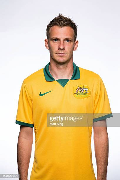 Alex Wilkinson poses during an Australian Socceroos headshots session at Crowne Plaza Terrigal on May 20 2014 in Sydney Australia