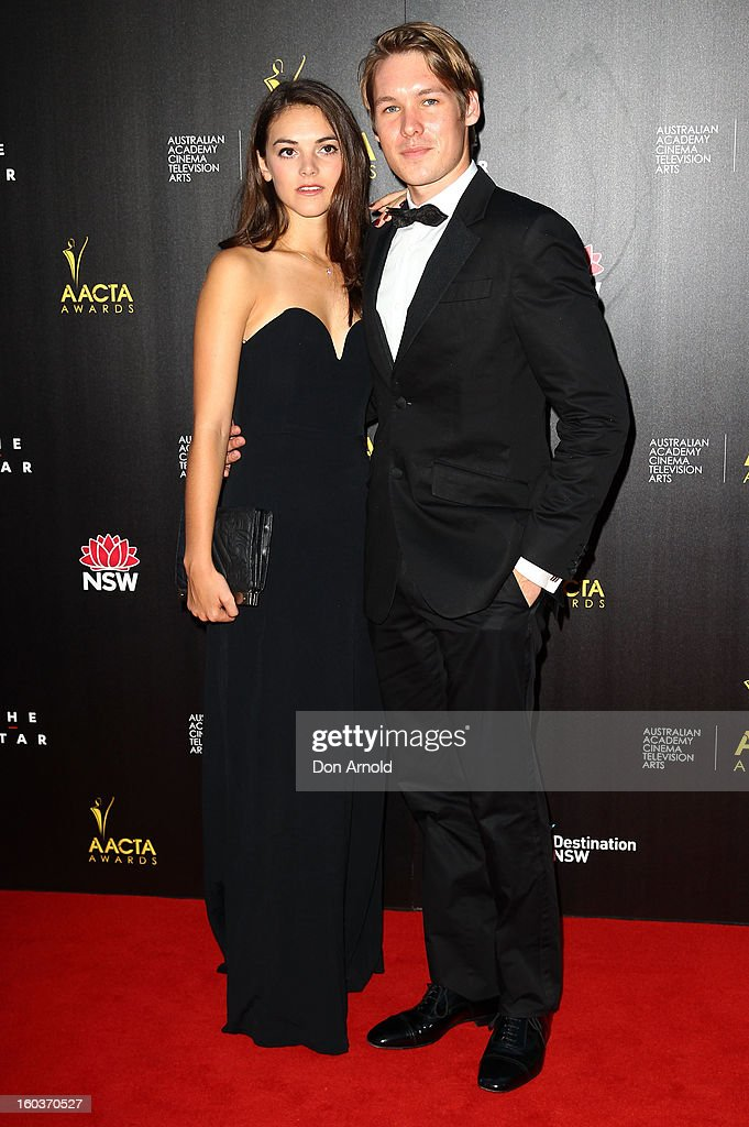 Alex Williams (R) arrives for the 2nd Annual AACTA Awards at The Star on January 30, 2013 in Sydney, Australia.