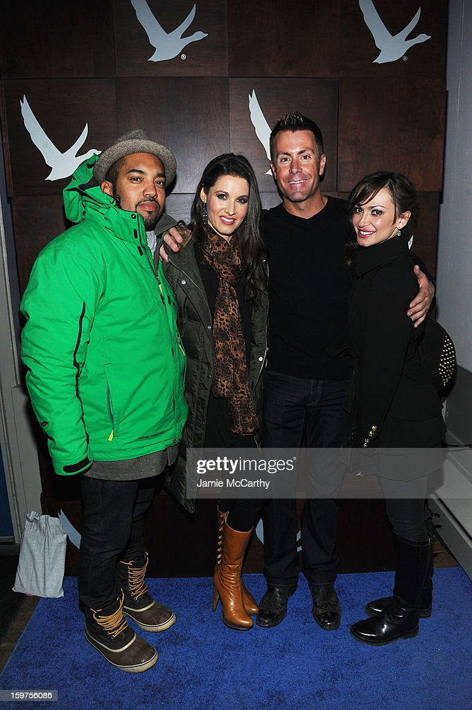 Alex Wilson, Lindsey Rielly, Chad McWhinney and <a gi-track='captionPersonalityLinkClicked' href=/galleries/search?phrase=Karina+Smirnoff&family=editorial&specificpeople=4029232 ng-click='$event.stopPropagation()'>Karina Smirnoff</a> attend Grey Goose Blue Door Anonymous Content Party on January 19, 2013 in Park City, Utah.