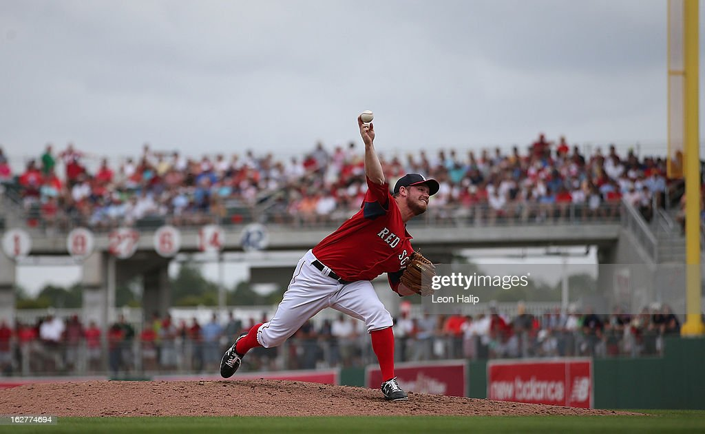 Alex Wilson #63 of the Boston Red Sox pitches during the game against the St. Louis Cardinals at JetBlue Park on February 26, 2013 in Fort Myers, Florida.