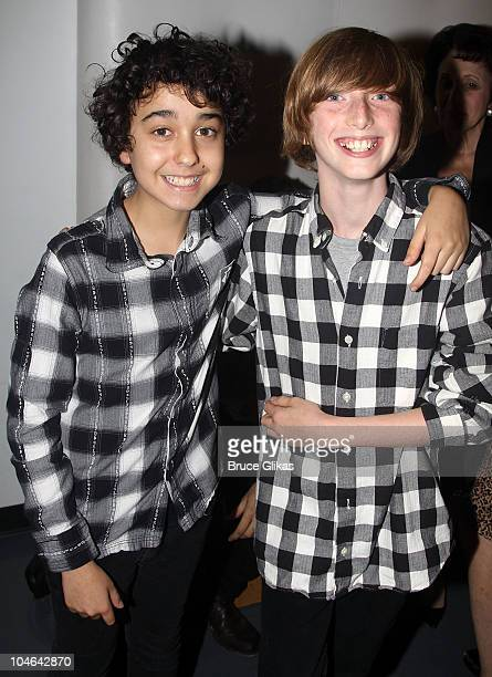 Alex Wolff and Caleb Freundlich attend the opening night of 'Freckleface Strawberry The Musical' at New World Stages on October 1 2010 in New York...