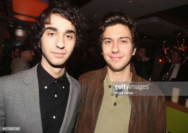 Alex Wolff and Nat Wolff pose at the Opening Night for The New Group's new play 'All the Fine Boys' at Green Fig Urban Eatery on March 1 2017 in New...