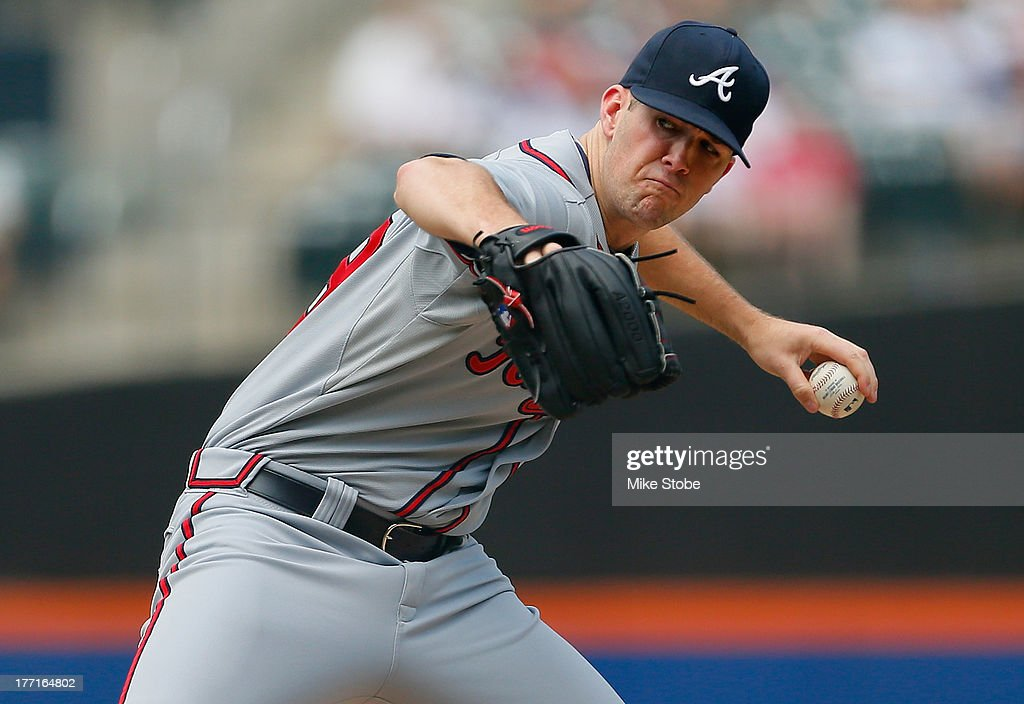 Alex Wood #58 of the Atlanta Braves pitches in the first inning against the New York Mets at Citi Field on August 21, 2013 at Citi Field in the Flushing neighborhood of the Queens borough of New York City. Braves defeated the Mets 4-1.