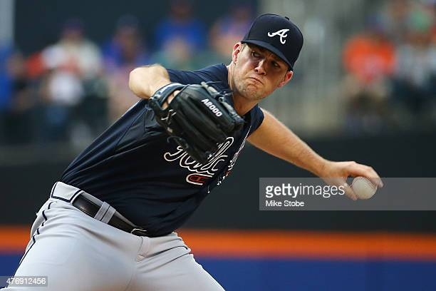 Alex Wood of the Atlanta Braves pitches in the first inning against the New York Mets at Citi Field on June 12 2015 in Flushing neighborhood of the...