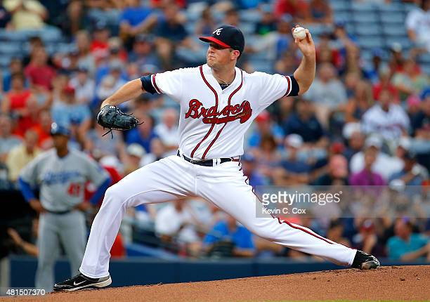 Alex Wood of the Atlanta Braves pitches in the first inning to the Los Angeles Dodgers at Turner Field on July 21 2015 in Atlanta Georgia
