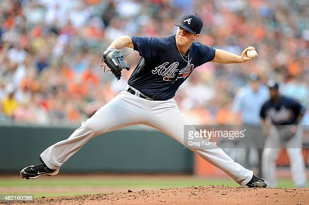 Alex Wood of the Atlanta Braves pitches in the second inning against the Baltimore Orioles at Oriole Park at Camden Yards on July 27 2015 in...