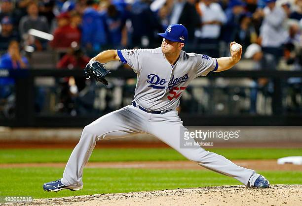 Alex Wood of the Los Angeles Dodgers in action against the New York Mets during game three of the National League Division Series at Citi Field on...