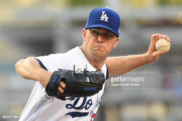 Alex Wood of the Los Angeles Dodgers in the first inning against the Colorado Rockies at Dodger Stadium on June 23 2017 in Los Angeles California