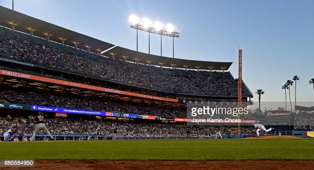 Alex Wood of the Los Angeles Dodgers in the second inning of the game against the Miami Marlins before the game at Dodger Stadium on May 19 2017 in...