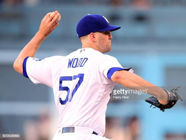 Alex Wood of the Los Angeles Dodgers pitches against the Atlanta Braves during the first inning at Dodger Stadium on July 21 2017 in Los Angeles...
