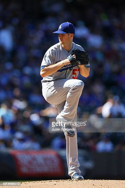 Alex Wood of the Los Angeles Dodgers pitches against the Colorado Rockies at Coors Field on September 27 2015 in Denver Colorado