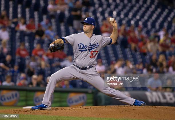 Alex Wood of the Los Angeles Dodgers pitches against the Philadelphia Phillies at Citizens Bank Park on September 20 2017 in Philadelphia Pennsylvania