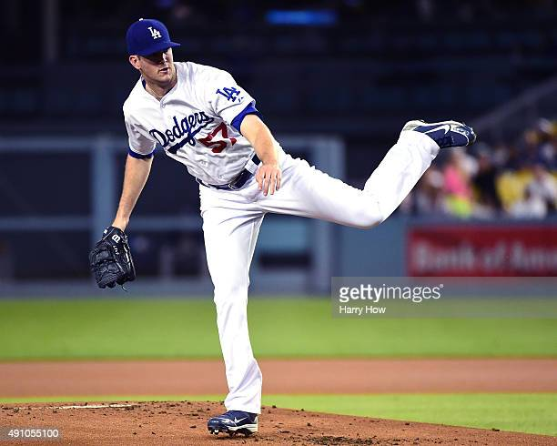Alex Wood of the Los Angeles Dodgers pitches agianst the San Diego Padres during the first inning at Dodger Stadium on October 2 2015 in Los Angeles...