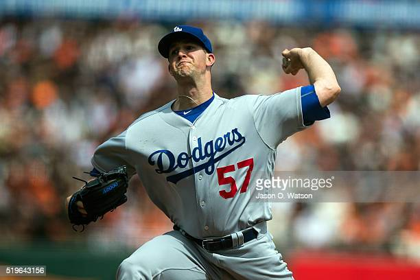 Alex Wood of the Los Angeles Dodgers pitches against the San Francisco Giants during the first inning at ATT Park on April 7 2016 in San Francisco...