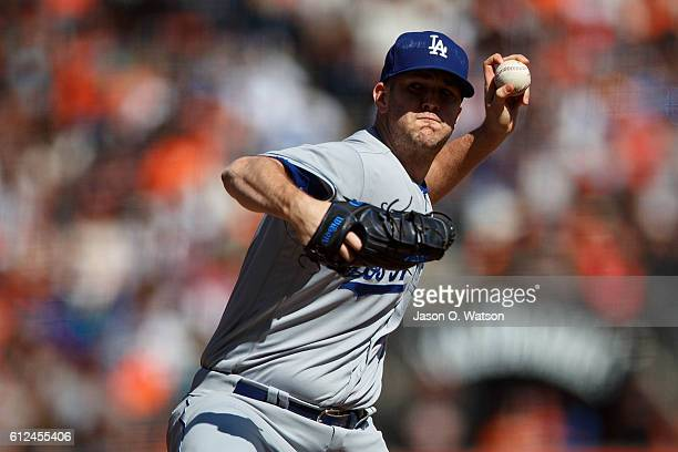 Alex Wood of the Los Angeles Dodgers pitches against the San Francisco Giants during the fifth inning at ATT Park on October 2 2016 in San Francisco...