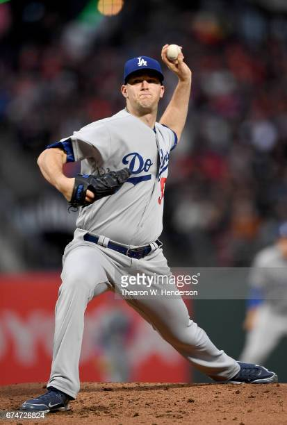 Alex Wood of the Los Angeles Dodgers pitches against the San Francisco Giants in the bottom of the second inning at ATT Park on April 26 2017 in San...
