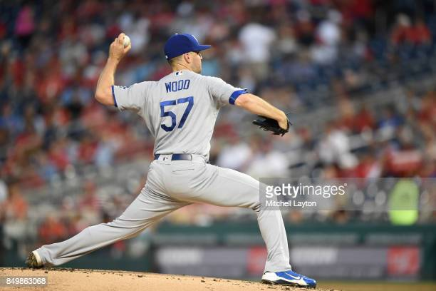 Alex Wood of the Los Angeles Dodgers pitches during a baseball game against the Washington Nationals at Nationals Park on September 15 2017 in...