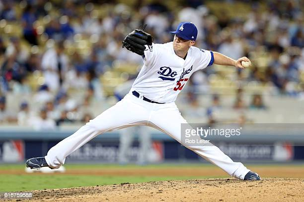 Alex Wood of the Los Angeles Dodgers pitches during Game 4 of the NLCS against the Chicago Cubs at Dodger Stadium on Wednesday October 19 2016 in Los...