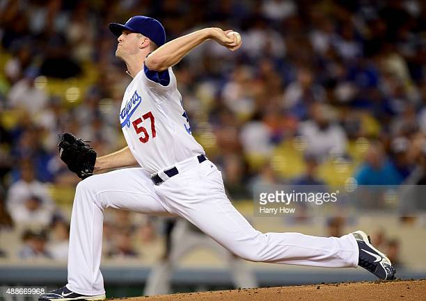 Alex Wood of the Los Angeles Dodgers pitches during the first inning against the Colorado Rockies at Dodger Stadium on September 16 2015 in Los...