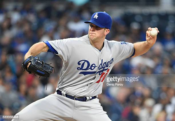 Alex Wood of the Los Angeles Dodgers pitches during the second inning of a baseball game against the San Diego Padres at PETCO Park on May 21 2016 in...