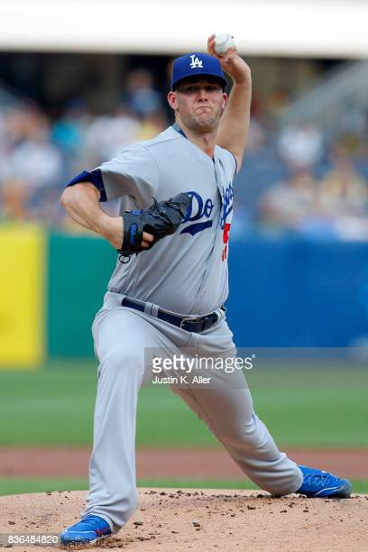 Alex Wood of the Los Angeles Dodgers pitches in the first inning against the Pittsburgh Pirates at PNC Park on August 21 2017 in Pittsburgh...