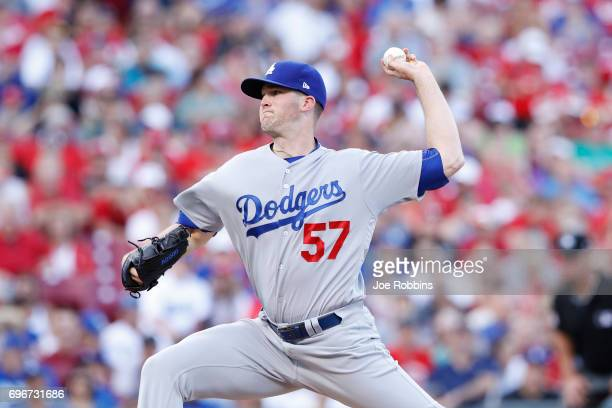 Alex Wood of the Los Angeles Dodgers pitches in the second inning of a game against the Cincinnati Reds at Great American Ball Park on June 16 2017...
