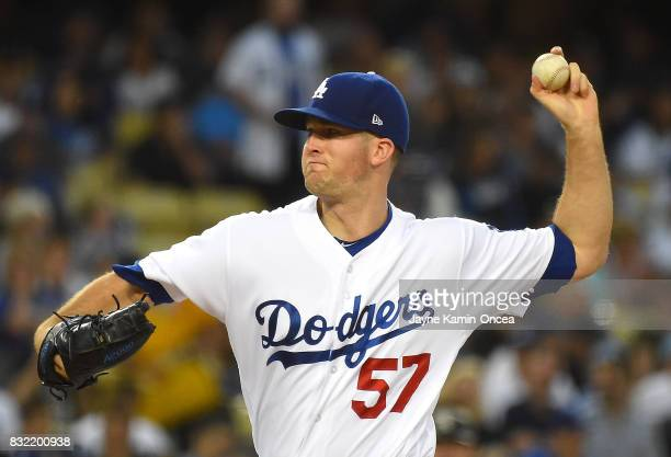 Alex Wood of the Los Angeles Dodgers pitches in the second inning of the game against the Chicago White Sox at Dodger Stadium on August 15 2017 in...