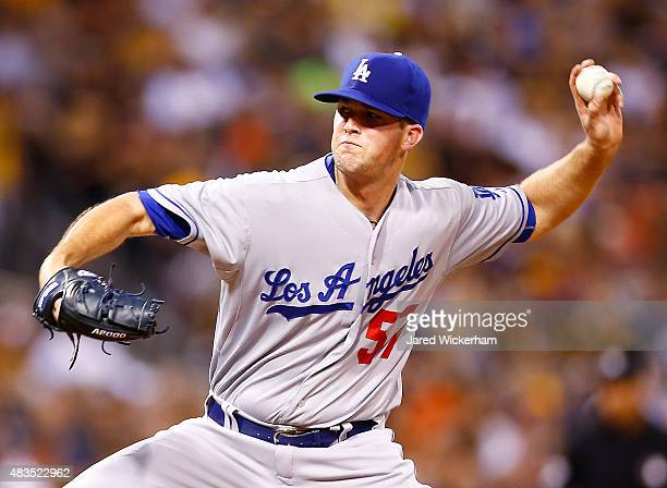 Alex Wood of the Los Angeles Dodgers pitches in the second inning against the Pittsburgh Pirates during the game at PNC Park on August 9 2015 in...