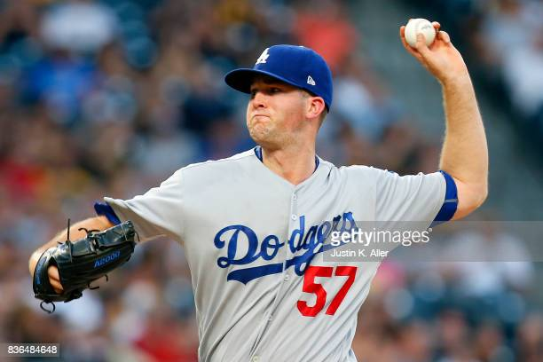Alex Wood of the Los Angeles Dodgers pitches in the second inning against the Pittsburgh Pirates at PNC Park on August 21 2017 in Pittsburgh...