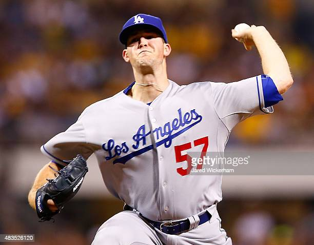 Alex Wood of the Los Angeles Dodgers pitches in the third inning against the Pittsburgh Pirates during the game at PNC Park on August 9 2015 in...