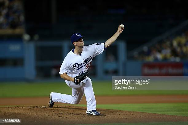 Alex Wood of the Los Angeles Dodgers throws a pitch against the Arizona Diamondbacks at Dodger Stadium on September 22 2015 in Los Angeles California