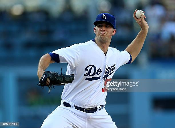 Alex Wood of the Los Angeles Dodgers throws a pitch against the Chicago Cubs at Dodger Stadium on August 30 2015 in Los Angeles California