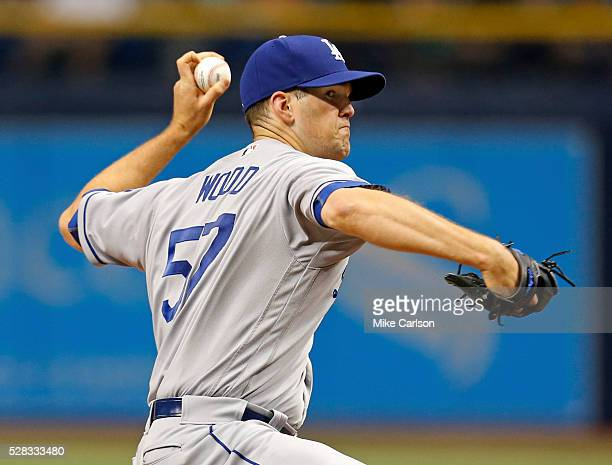 Alex Wood of the Los Angeles Dodgers throws during the fourth inning of a game against the Tampa Bay Rays at Tropicana Field on May 4 2016 in St...
