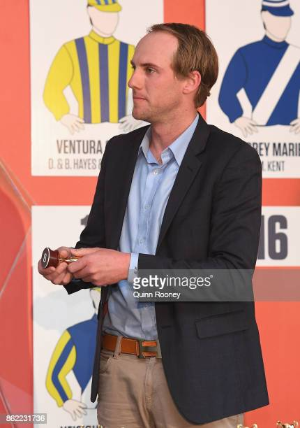 Alex Woodham draws barrier 8 for Hardham during the Caulfield Cup Barrier Draw at Caulfield Racecourse on October 17 2017 in Melbourne Australia