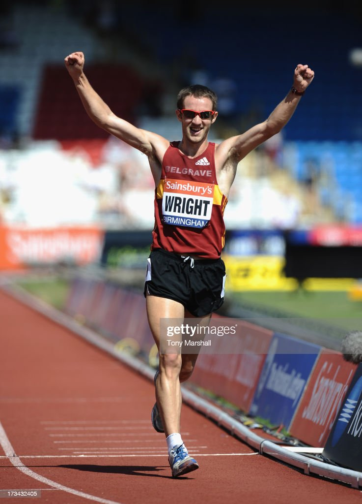 <a gi-track='captionPersonalityLinkClicked' href=/galleries/search?phrase=Alex+Wright+-+Race+Walker&family=editorial&specificpeople=16023029 ng-click='$event.stopPropagation()'>Alex Wright</a> of Belgrave Harriers celebrates as he wins the fnal of the Mens 5000m Walk during the Sainsbury's British Championships Birmingham - British Athletics World Trials and UK & England Championships: Day Three at Alexander Stadium on July 14, 2013 in Birmingham, England.