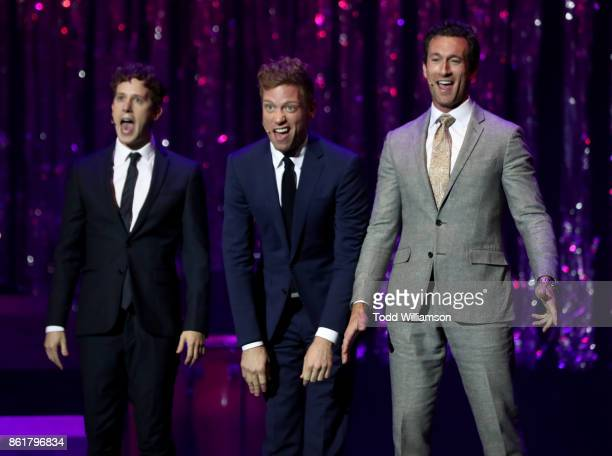 Alex Wyse Barrett Foa and Aaron Lazar perform onstage at National Breast Cancer Coalition Fund's 17th Annual Les Girls Cabaret at Avalon Hollywood on...