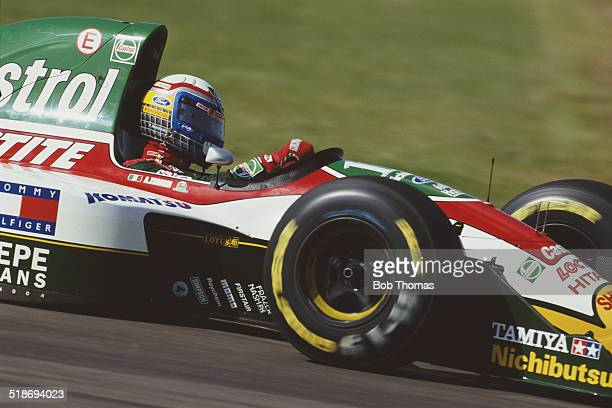 Alex Zanardi of Italy drives the Team Lotus Lotus 107B Ford HBD6 V8 during the British Grand Prix on 11th July 1993 at the Silverstone Circuit in...