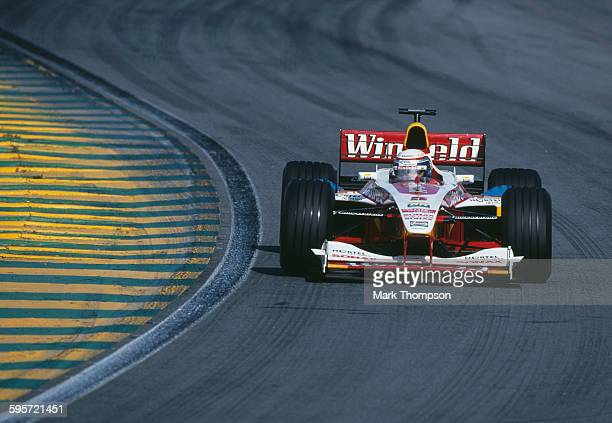 Alex Zanardi of Italy drives the Winfield Williams Williams FW21 Supertec V10 during the Brazilian Grand Prix on 11 April 1999 at the Autodromo Jose...