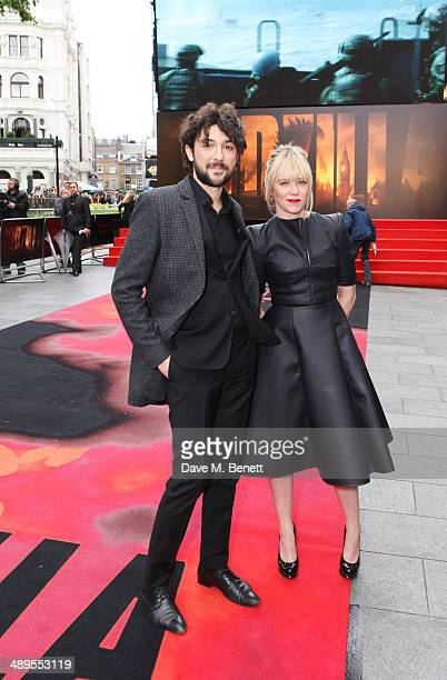 Alex Zane and Edith Bowman attend the European premiere of 'Godzilla' at Odeon Leicester Square on May 11 2014 in London England