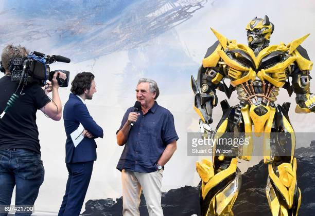 Alex Zane and Jim Carter on stage at the global premiere of 'Transformers The Last Knight' at Cineworld Leicester Square on June 18 2017 in London...