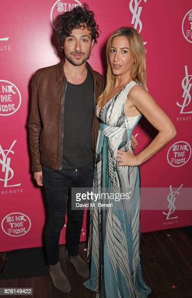 Alex Zane and Laura Pradelska attend the #YSLBeautyClub party in collaboration with Sink The Pink at The Curtain on August 3 2017 in London England