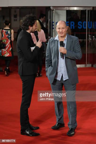Alex Zane and Woody Harrelson attend the UK Premiere of 'Three Billboards Outside Ebbing Missouri' at the closing night gala of the 61st BFI London...