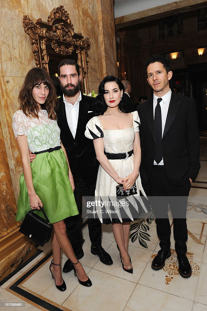 Alexa Cheung, Jack Guinness and <a gi-track='captionPersonalityLinkClicked' href=/galleries/search?phrase=Dita+Von+Teese&family=editorial&specificpeople=210578 ng-click='$event.stopPropagation()'>Dita Von Teese</a> attends day two of the-miumiu-london, a temporary women's club at Cafe Royal on November 28, 2012 in London, England.